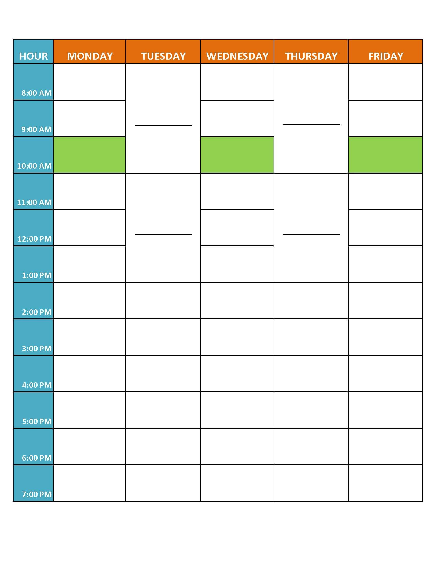 blank weekly schedule for our time management class first year