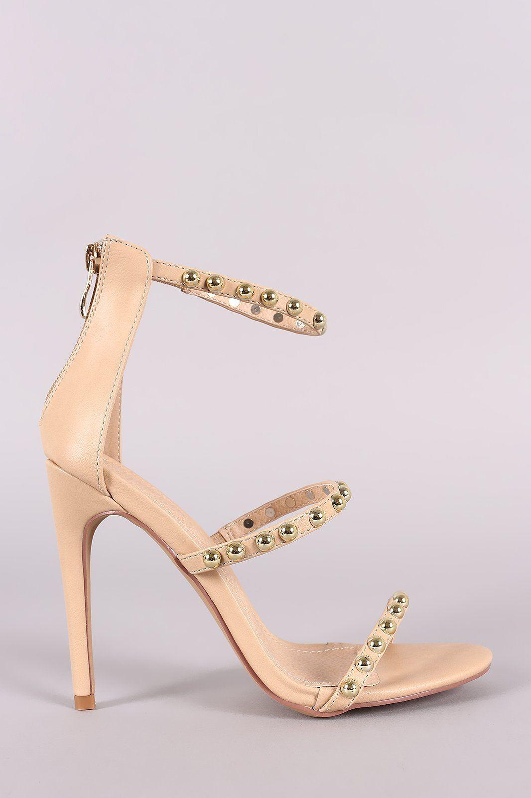 c22f2a02ab43 Liliana Studded Open Toe Triple Straps Heel