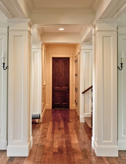 Interior Square Custom Built Columns Gives This Hallway A Walk To Remember