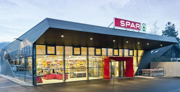 Spar supermarket design building ideas pinterest for Exterior design of a retail store