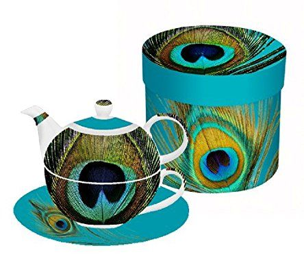 Paperproducts Design Paradise Peacock Tea for One Set, Includes Teapot, Cup and Saucer