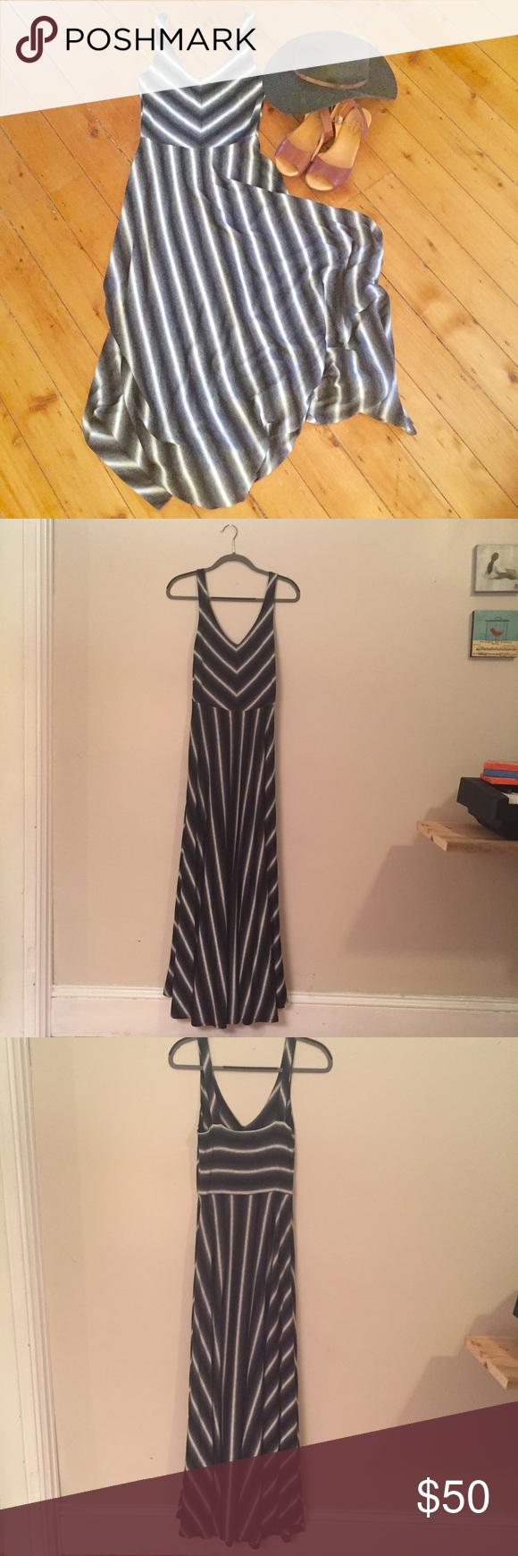 Puella Tasmin Striped Maxi Dress Anthropologie Puella Tasmin maxi dress from Anthropologie. Grey, black and white vertical stripes on skirt, and striped V pattern on bodice. This dress is super flattering and comfortable! Great condition. Looks great with platform sandals (pictured pair available for sale). Size Small. Anthropologie Dresses Maxi