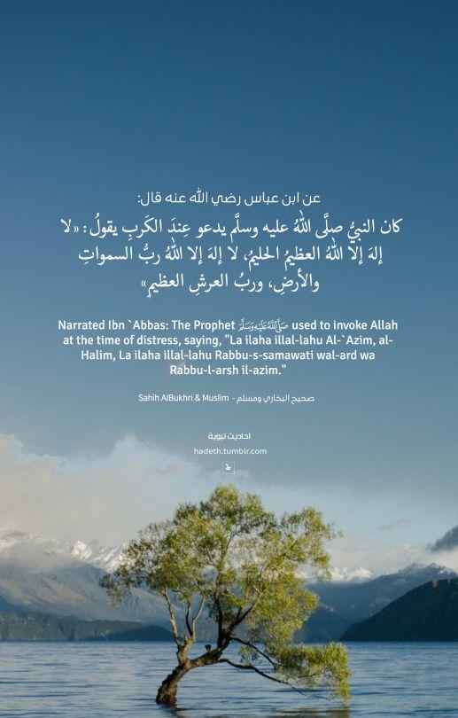 """Narrated Ibn `Abbas: The Prophet (ﷺ) used to invoke Allah at the time of distress, saying, """"La ilaha illal-lahu Al-`Azim, al- Halim, La ilaha illal-lahu Rabbu-s-samawati wal-ard wa Rabbu-l-arsh il-azim."""" Sahih AlBukhary & Muslim"""