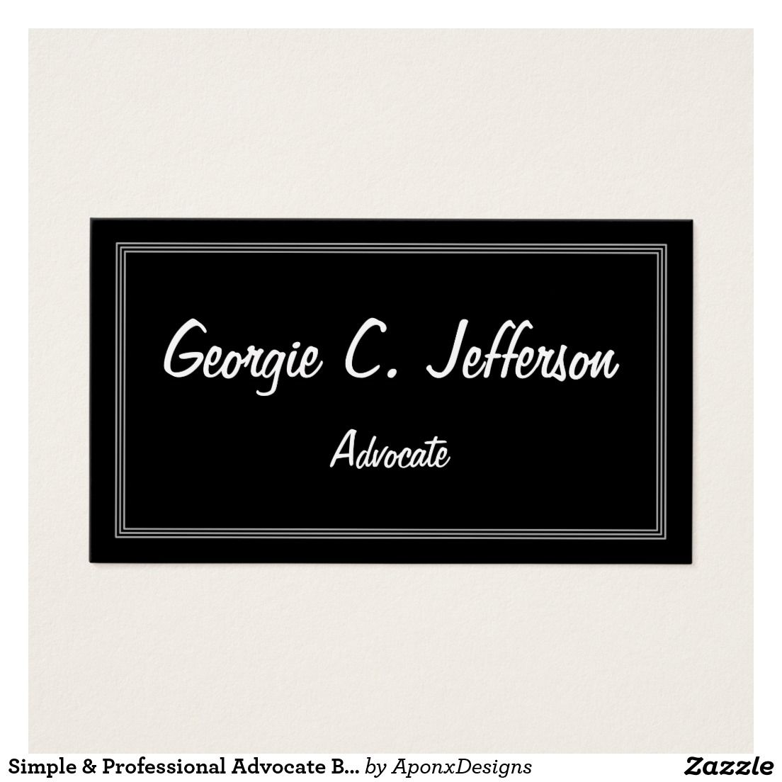 Simple & Professional Advocate Business Card | Customizable Business ...