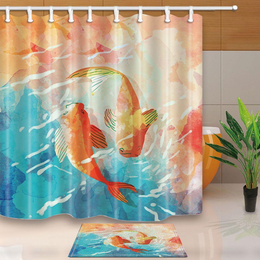 Asian Koi Fish Shower Curtain Bathroom Decor Waterproof Fabric 12hooks 7171in