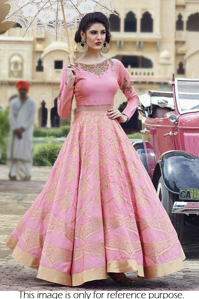 Raw Silk Party Wear Crop top lehenga In Pink Colour Floral dresses