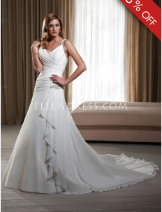 2012 Popular A-line Straps Sleeveless Chiffon Cheap Wedding Dress #USAHS316 - See more at: http://www.ellendress.com/wedding-dresses/cheap-wedding-dresses.html#sthash.zkA5chLX.dpuf