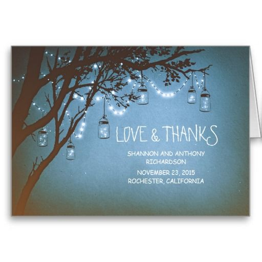 rustic mason jars and twinkle lights thank you cards