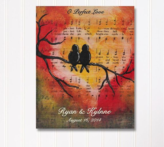 Personalized Artwork Fall in Love with Names and Date on Perfect Wedding gift