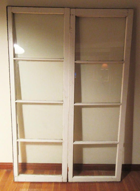 Pair Antique Casement French Doors Or Windows For Cabinet