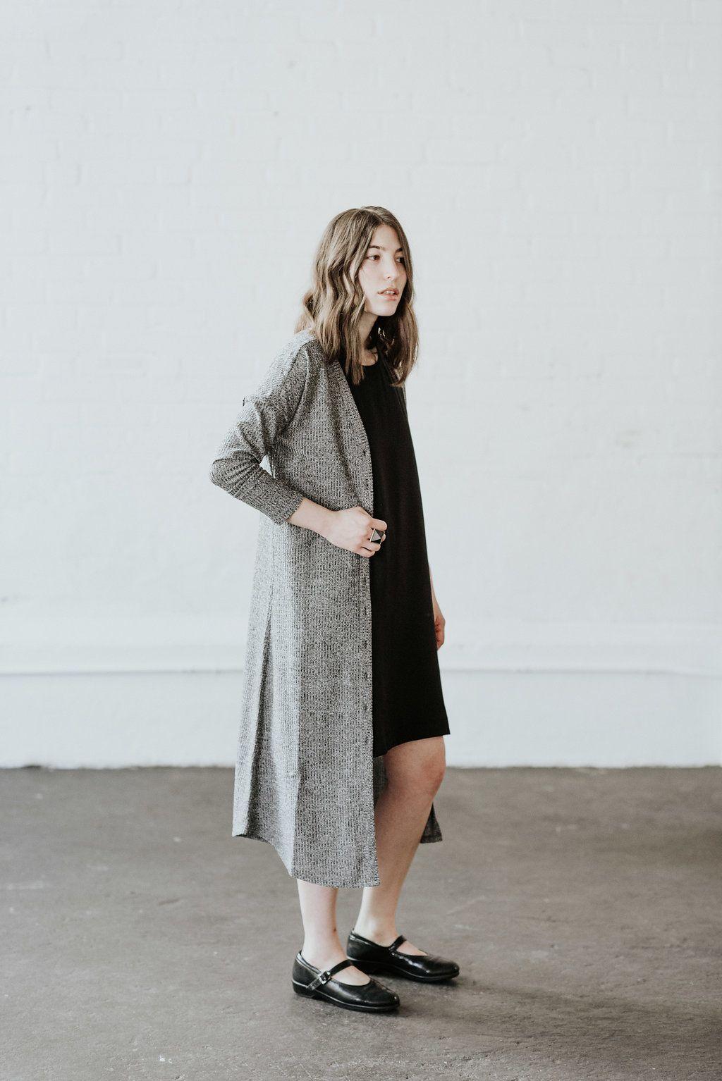 5140b7b39e2a58 The Long Cardigan by VETTA   Miriam wears size M   Made in USA    #realwomenphotoshoot #sustainablefashion #madeinusa #dustercardigan  #fallfashion #fallstyle