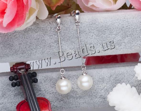 Perlas cultivadas de agua dulce Pendientes con Colgantes, plata esterlina aguja de pendiente, Esférico, natural, Blanco