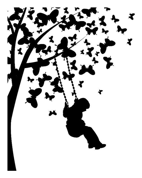 child swinging from butterfly tree vinyl wall decal mural be silhouette pinterest plotten. Black Bedroom Furniture Sets. Home Design Ideas