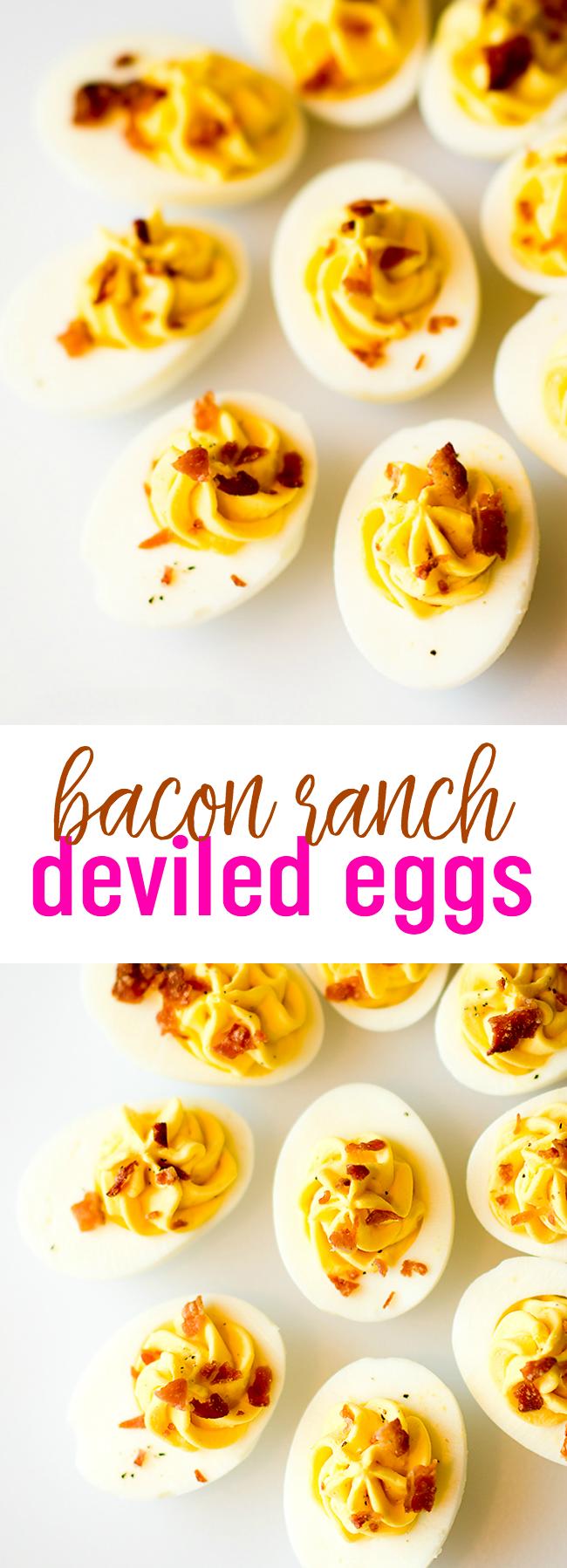 Bacon Ranch Deviled Eggs Recipe - Ranch Deviled Eggs #deviledeggs