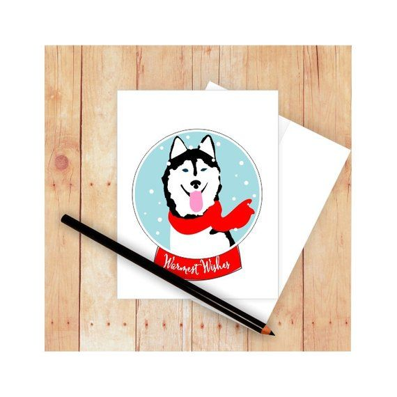 Husky Christmas Cards.Husky Christmas Cards Husky Holiday Cards Husky Greeting