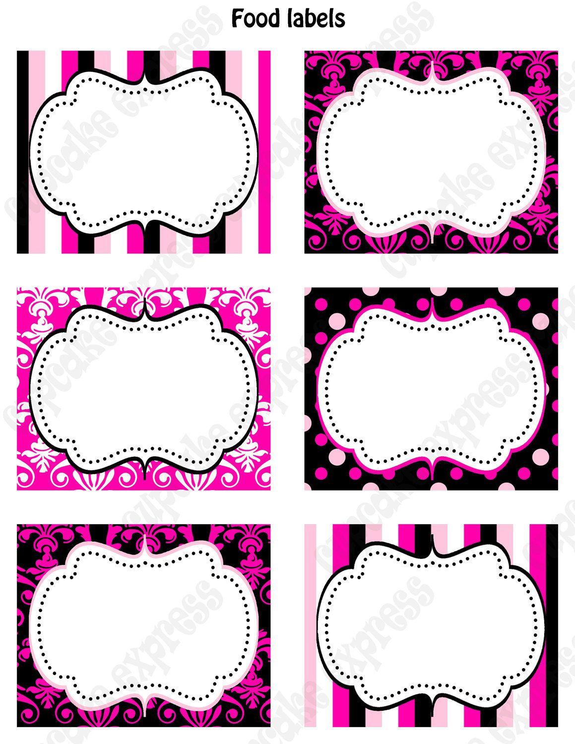 Diy Barbie Inspired Birthday Party Printable Food Labels Favor Tags Pink Black White Polka Dots Damask Stripes   Via Etsy