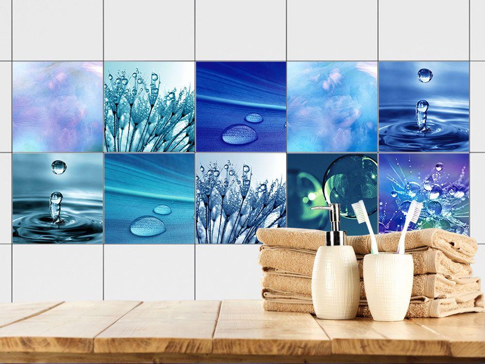 Fliesenaufkleber Set Für Bad Wasser Tropfen Blautöne
