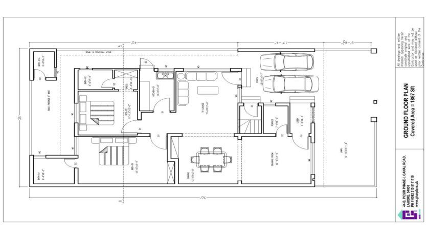 8 Bedroom, 35 ft x 70 ft 10 Marla House Plan in 2020 | 10 ...