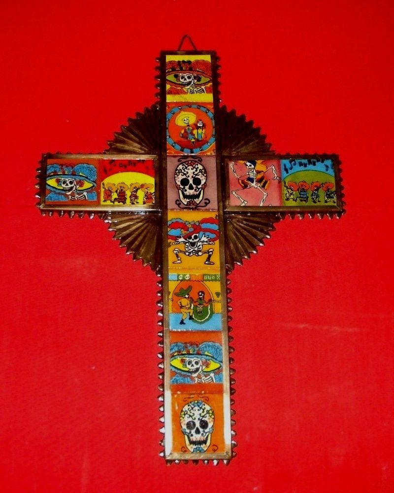 Day of the dead metal tin cross with ceramic tiles sugar skulls day of the dead metal tin cross with ceramic tiles sugar skulls dailygadgetfo Choice Image