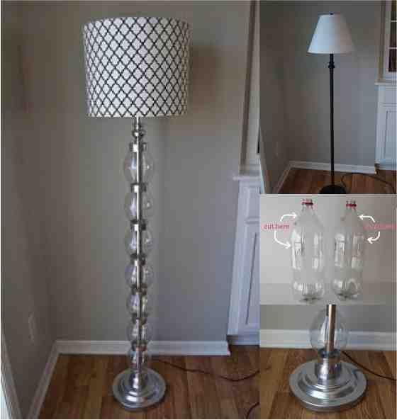 Gorgeous Budget Diy Standing Floor Lamp Refurb Using Plastic Bottles Do It Yourself Fun Ideas Diy Floor Lamp Floor Standing Lamps Diy Glass