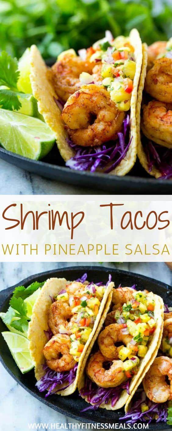 Shrimp Tacos with Pineapple Salsa #tacotuesdayrecipes
