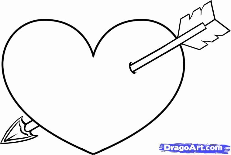 Hearts With Arrows Coloring Pages In 2020 Heart Drawing