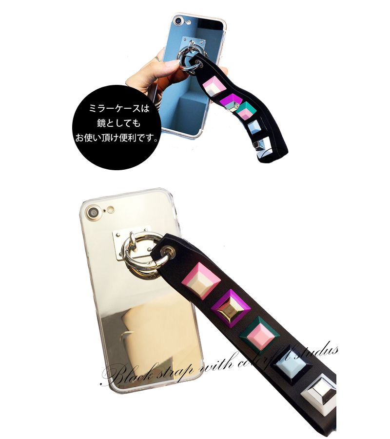 【楽天市場】【iPhone6・6s/7対応】マルチカラー カラフルレザー ストラップ ミラーiPhoneケース(フィンガー/リング/鏡/ホールド/グリップ):セレクトショップgreeny