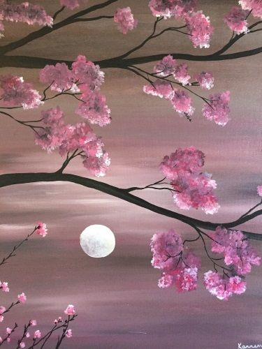 Cherry Blossom Moonlight Ii At Alta Strada Foxwoods Paint Nite Events Painting Art Painting Canvas Painting Quotes