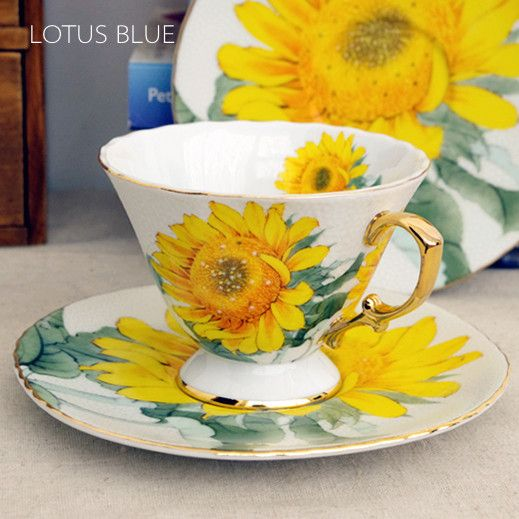 Luxury sixth kiln quality bone china coffee cup set d'Angleterre black tea cup gift box sunflower $98.51