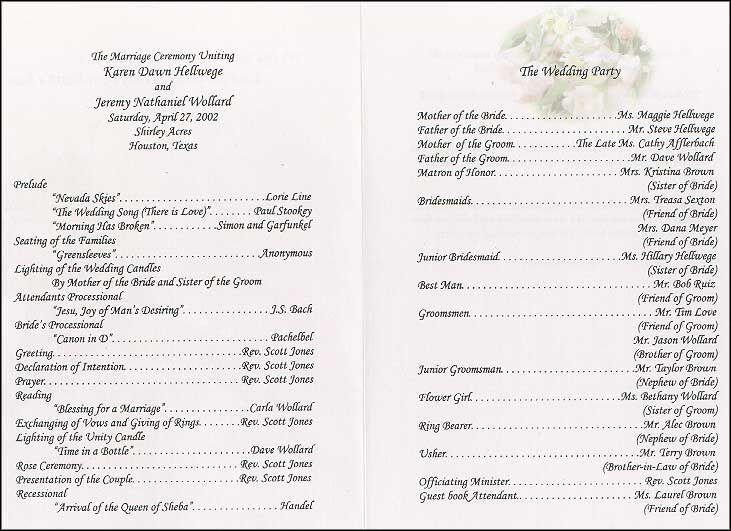 wedding ceremony program examples