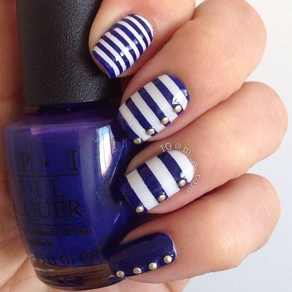 Blue striped button themed nail art design. Dark blue and white polish is  used on - 50 Blue Nail Art Designs White Polish, Dark Blue And Dark