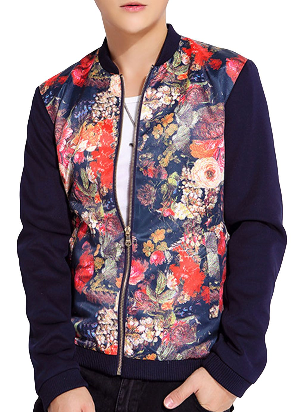 #Fashion #Winter Trendy Stand Collar Zip Up Floral #Outwear #Jacket