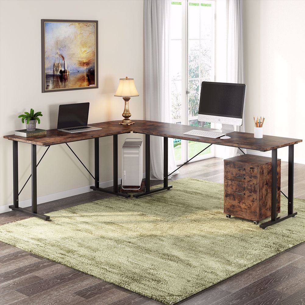 Tribesigns 83 Inch Industrial L Shaped Desk With File Cabinet File Cabinet Desk L Shaped Desk Home
