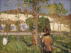 John Peter Russell - Marie-Louise Adélaïde-Eugénie(*1834-98)Madam Sisley - Sisley's wife on the banks of the Loing at Moret - Google Art Project.