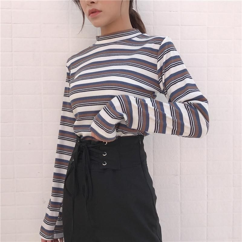32c103e323 GRAY BROWN LINES RED STRIPES KNIT SLIM COTTON LONG SLEEVE SHIRT ...
