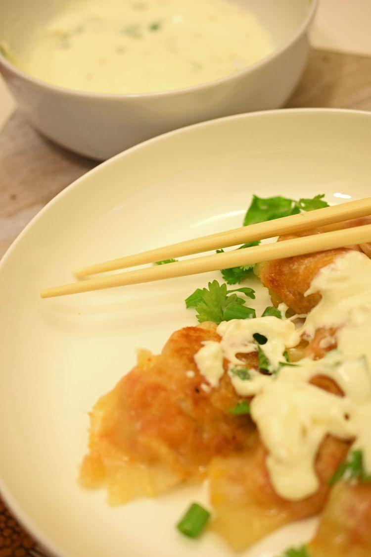 sweet potato  kimchi pot stickers gyoza  pan fried