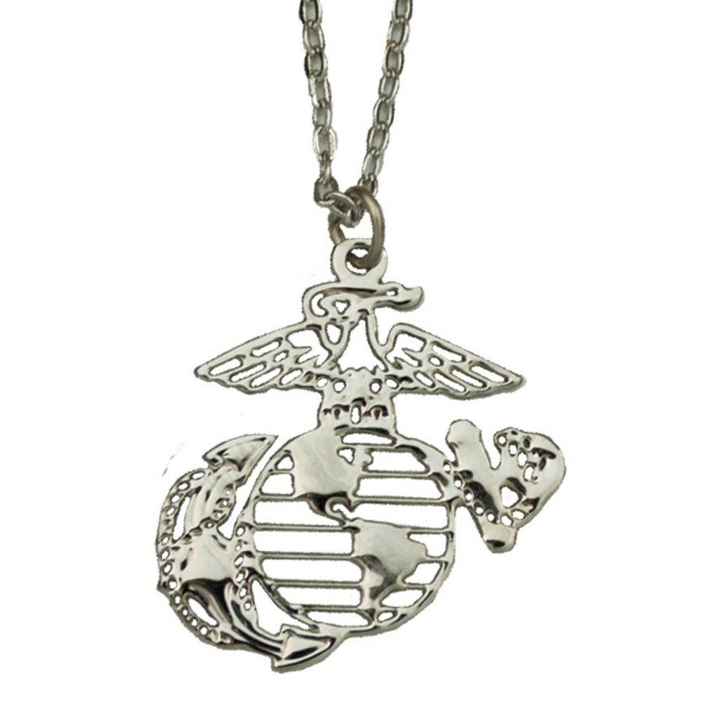 Women' Eagle Globe & Anchor Silver Necklace Sgt Grit