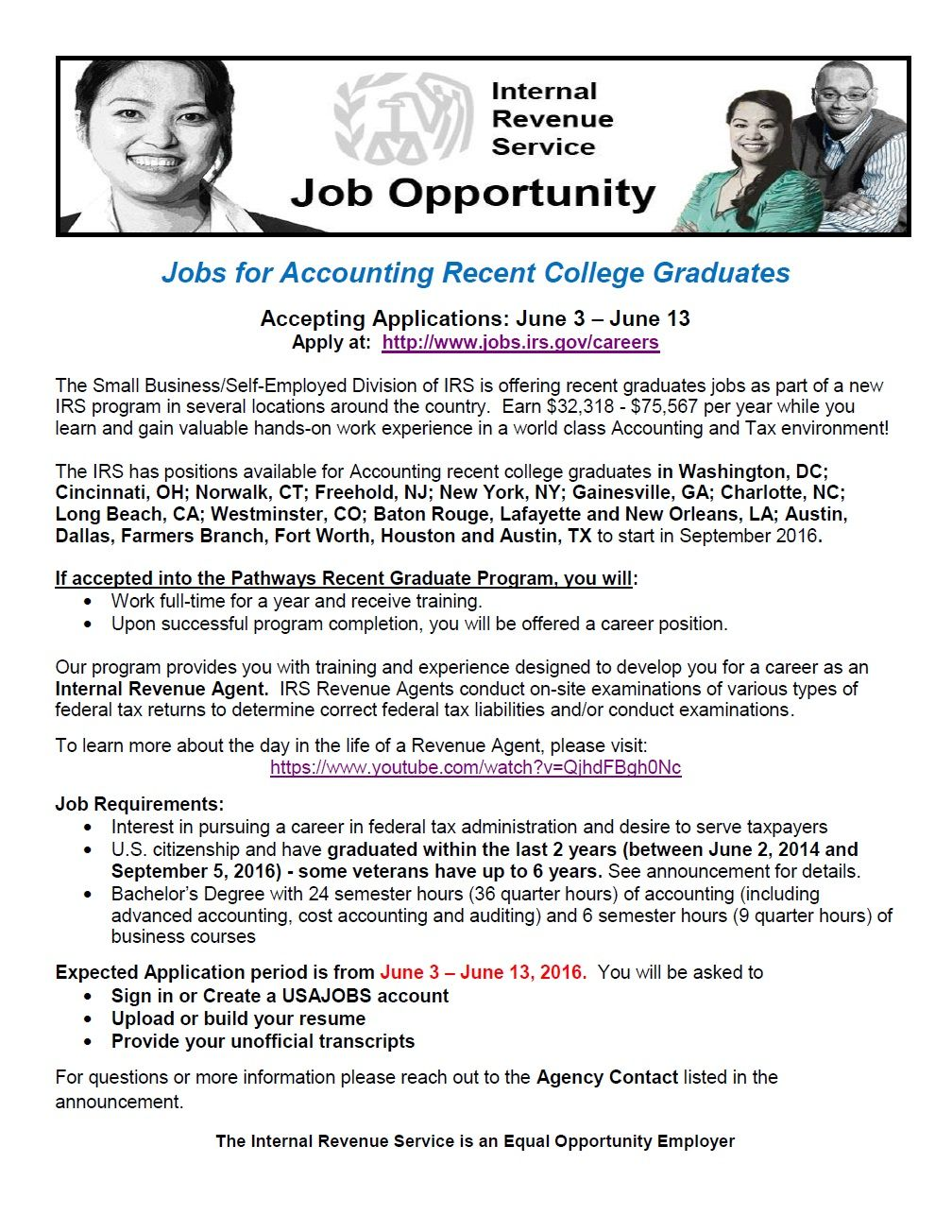 The IRS is hiring! Check out employment opportunities at
