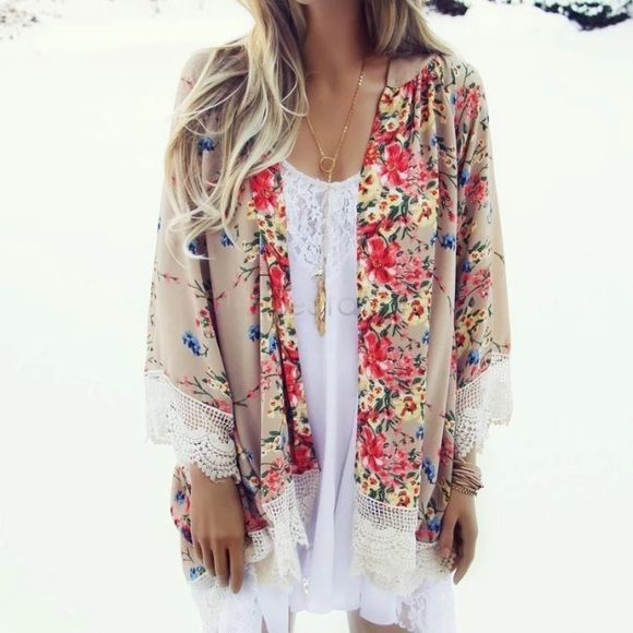 Tan Floral Lace Sheer Kimono | White slip, Floral lace and Kimonos