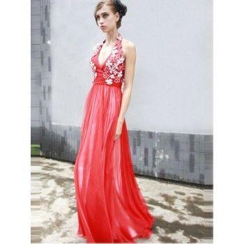ausgefallene neckholder abendkleider rot lang  abendkleid kleider chiffon abendkleider