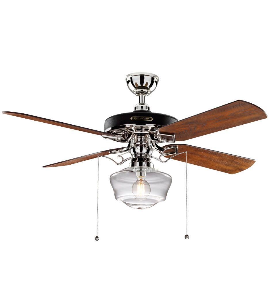 heron ceiling fan with light kit aged bronze fumed oak blades clear ogee schoolhouse shade aged. Black Bedroom Furniture Sets. Home Design Ideas