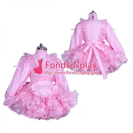 adb7584f9 US$ 119.91 - Sissy maid lockable pink Satin-lace dress cosplay costume  Tailor-