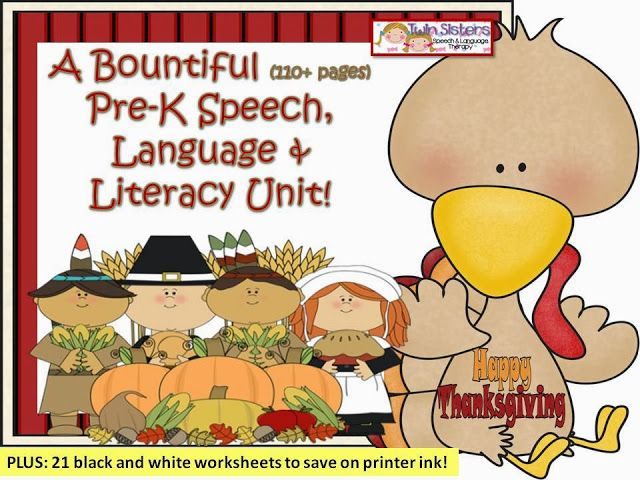1/2 off for 24 hours! A Bountiful Pre-K Thanksgiving Themed Speech