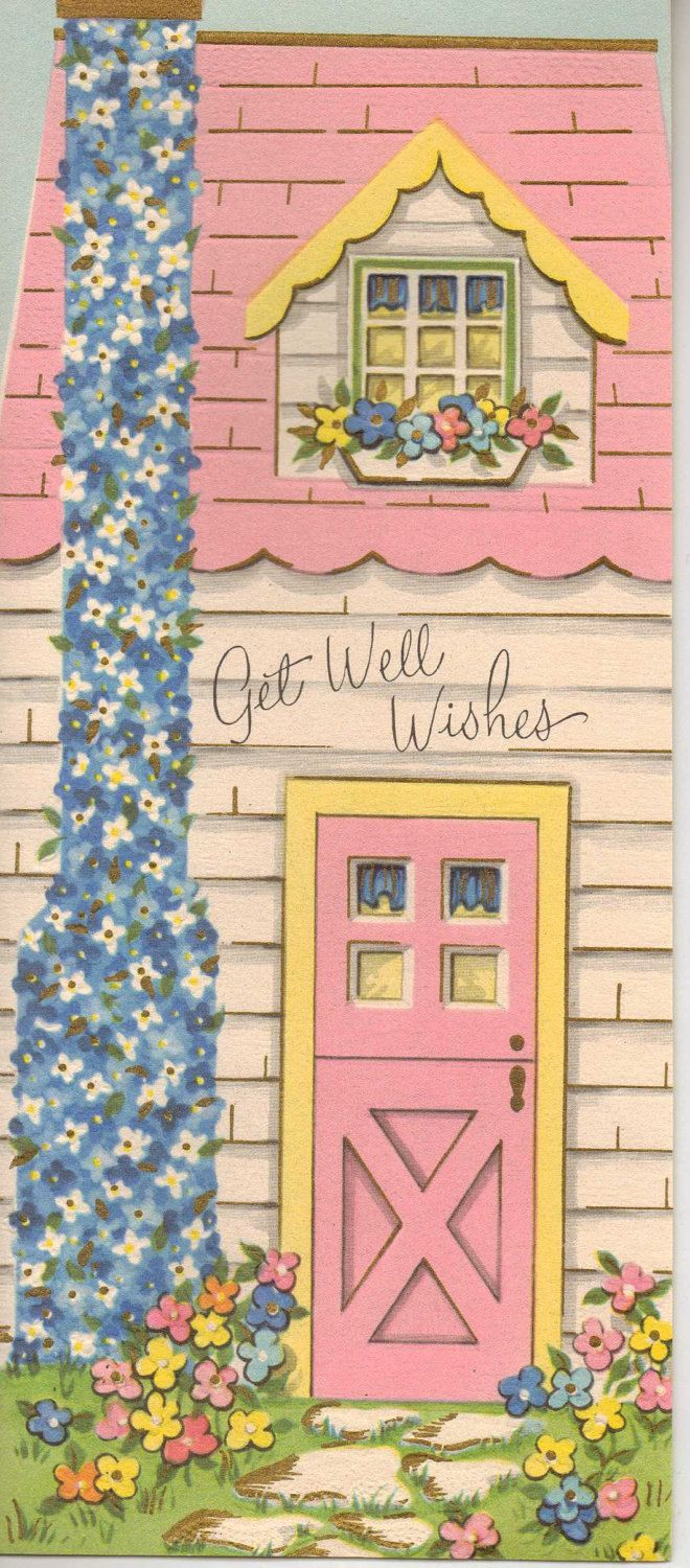 Vintage Get Well card - NOS 1950s 1960s