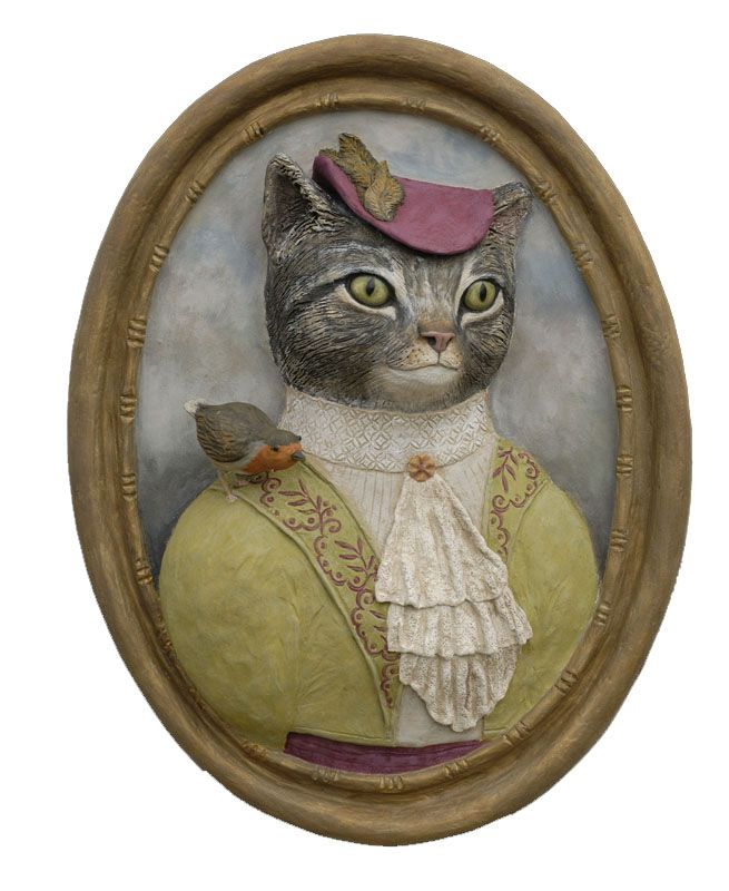 Medaillons Animaux En Costumes Art Animalier Illustration De Chat