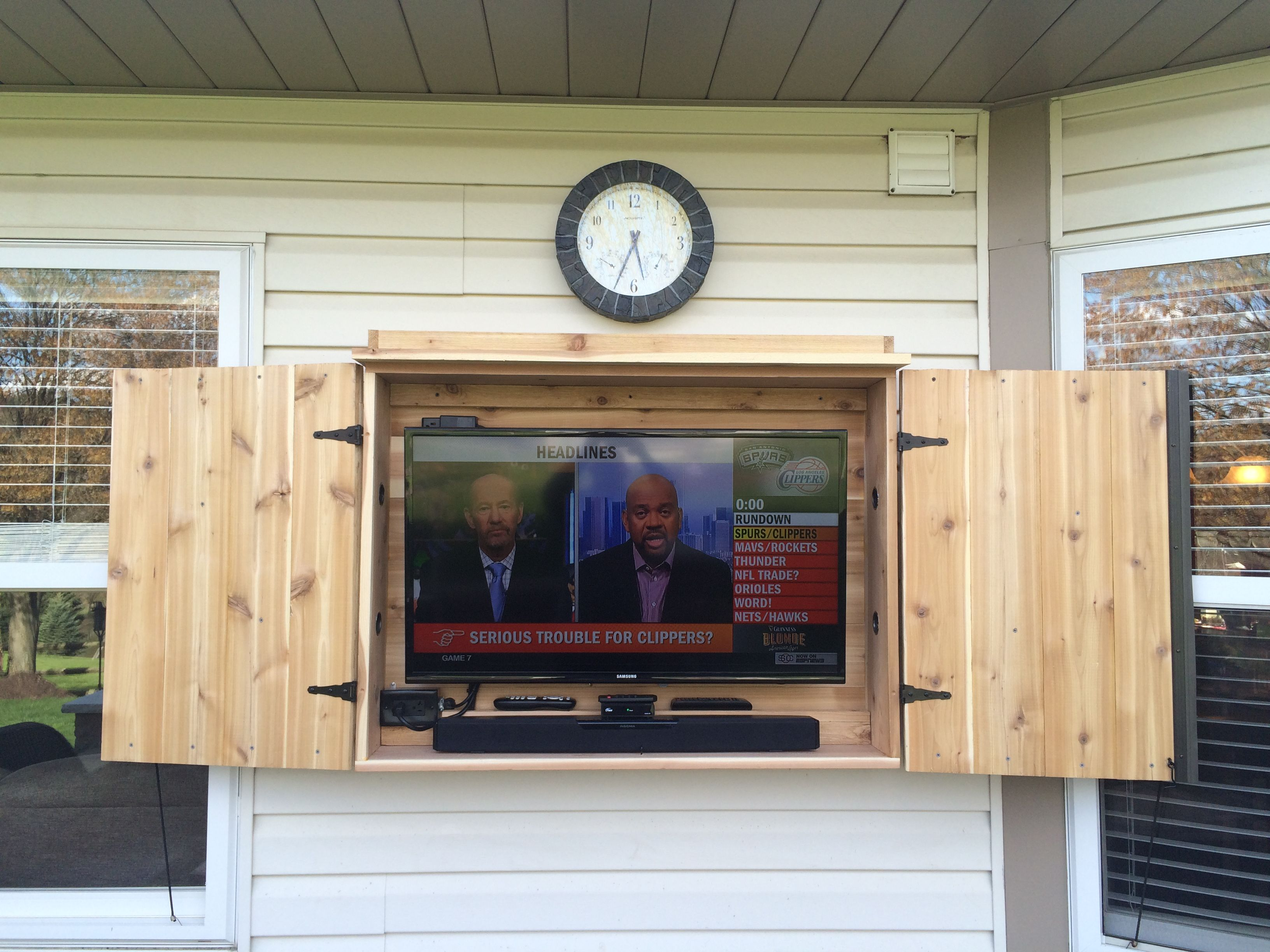 Outdoor Tv Cabinet Made Of Cedar Outdoor Tv Cabinet Apartment Patio Decor Outdoor Cabinet Diy