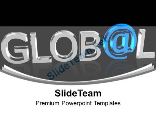 chrome letters spelling the word global powerpoint templates ppt