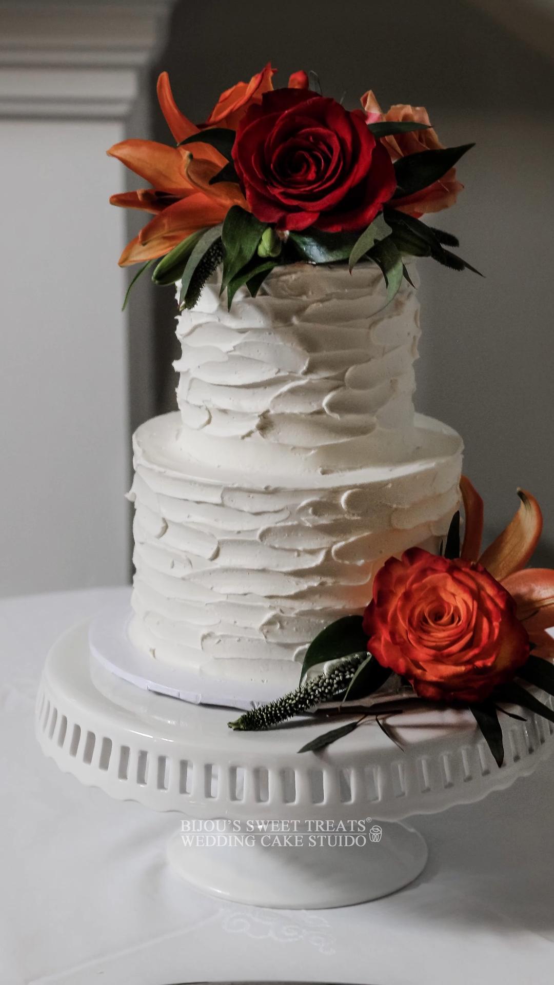 Classic textured buttercream wedding cake