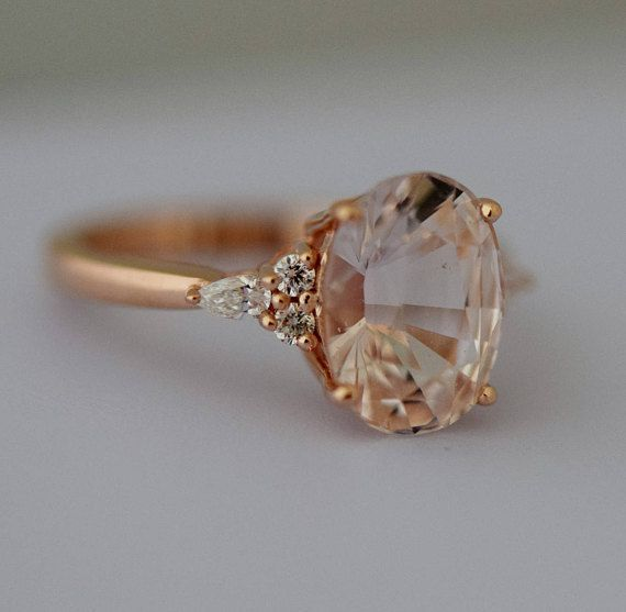 Peach sapphire engagement ring. Light peach champagne sapphire oval diamond ring 14k Rose gol... #diamondrings