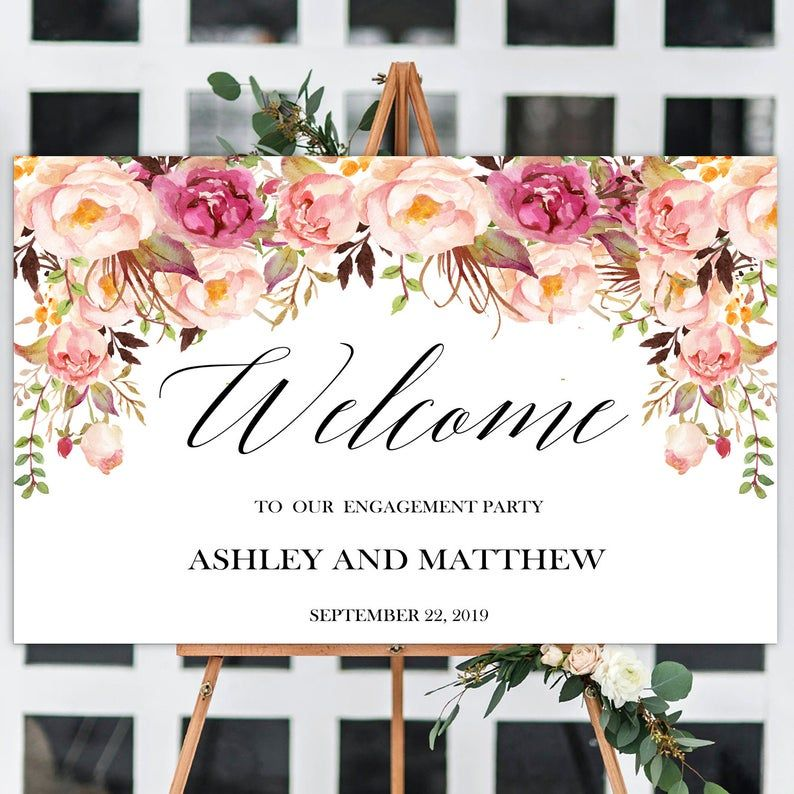 Engagement Dinner Sign, Blush Welcome Engagement Party, Floral Engagement Party Welcome sign, Large Welcome Poster, Personalized sign, Pink #engagementpartyideasdecorations